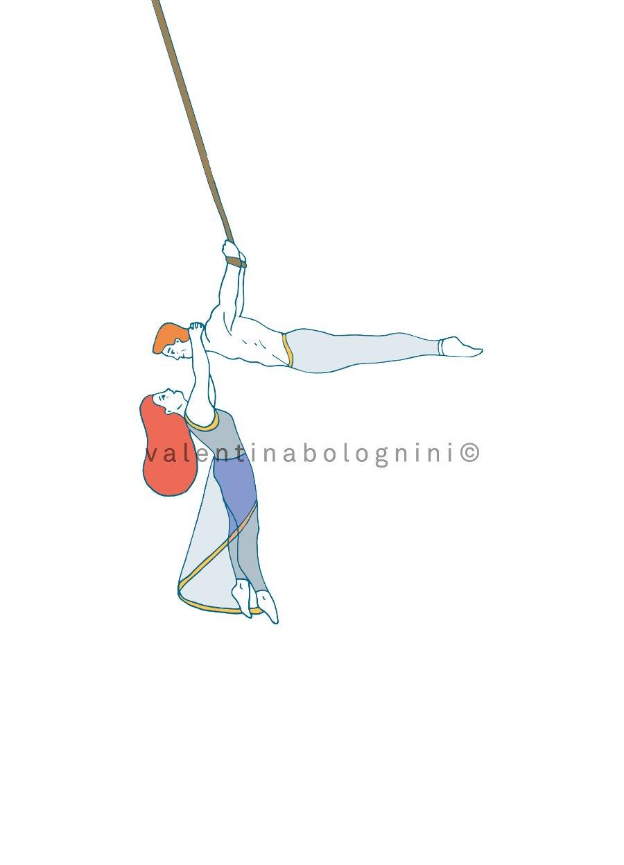Aerial straps circus artist